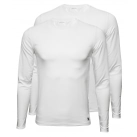 2-Pack Long-Sleeve Crew-Neck T-Shirts, White with navy