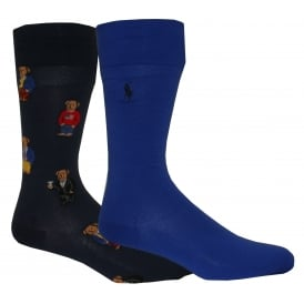 2-Pack Polo Bear Classic Cotton Crew Socks, Navy/Blue