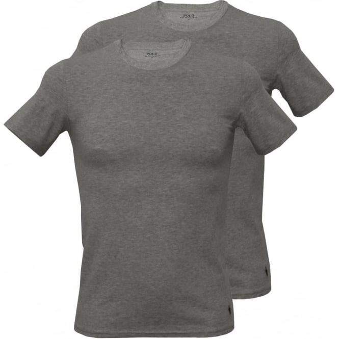 Polo Ralph Lauren 2-Pack Short-Sleeve Crew-Neck T-Shirts, Heather Grey with Navy