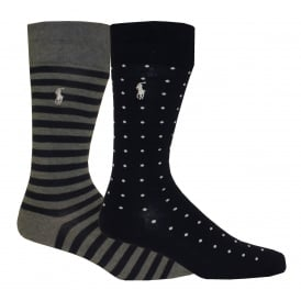 2-Pack Soft Cotton Dots & St. James Stripe Socks, Navy/Grey