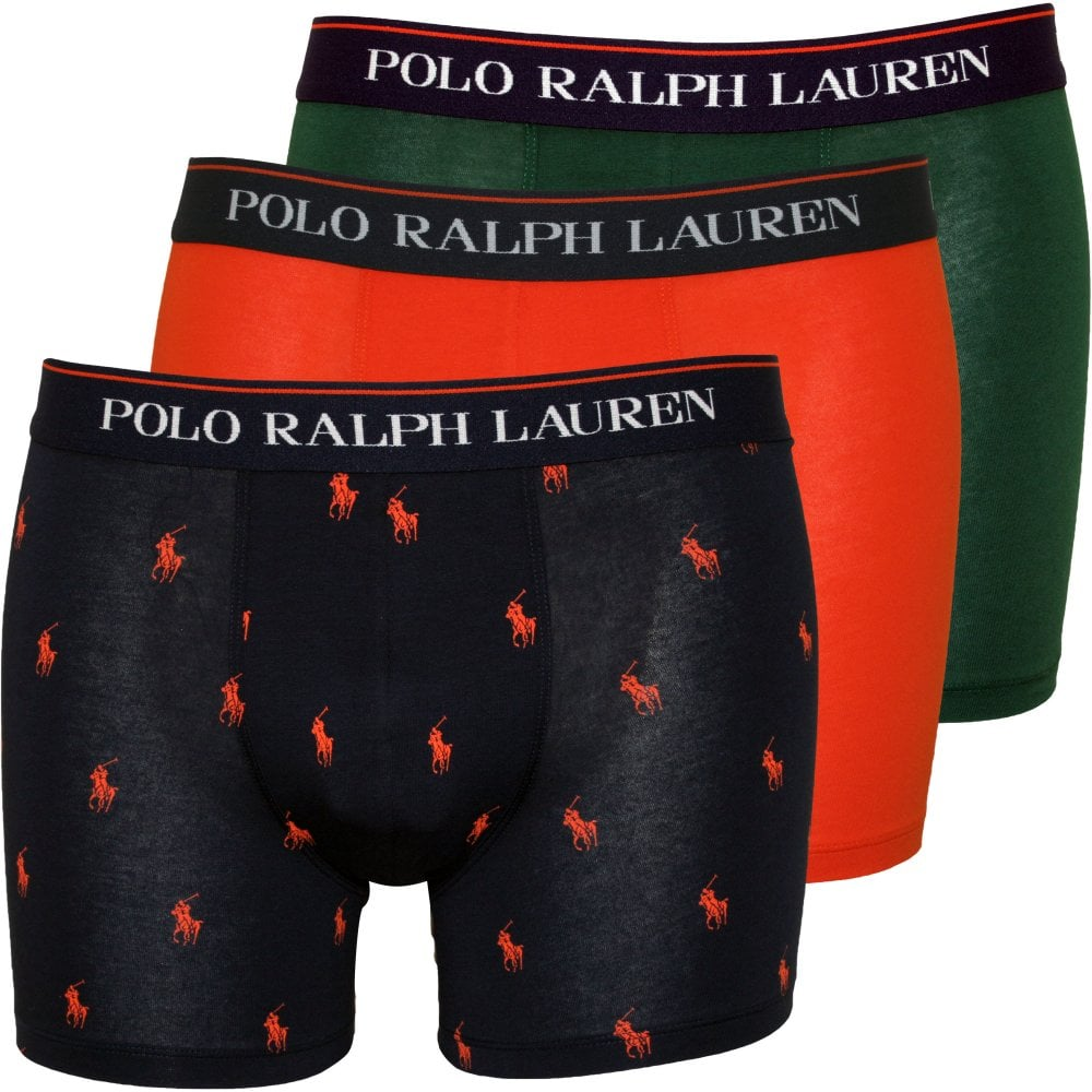 in stock half price many fashionable 3-Pack Allover Polo & Solid Boxer Briefs, Navy/Green/Orange