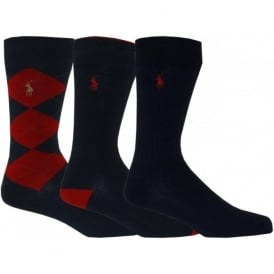 3-Pack Argyle & Solid Casual Socks, Navy/Red
