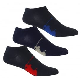 3-Pack Big Polo Player Trainer Socks, Navy