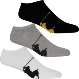 3-Pack Big Polo Trainer Socks, Black/White/Grey