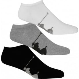 3-Pack Big Pony Player Trainer Socks, Black/White/Grey