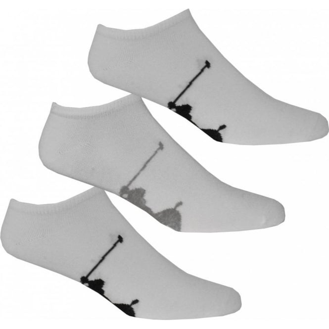 Polo Ralph Lauren 3-Pack Big Pony Player Trainer Socks, White