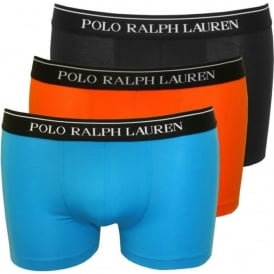 3-Pack Boxer Trunks, Blue/Black/Orange