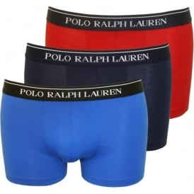 3-Pack Boxer Trunks, Red/Blue/Navy