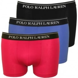 3-Pack Classic Boxer Trunks, Colby Blue/Pink/Black