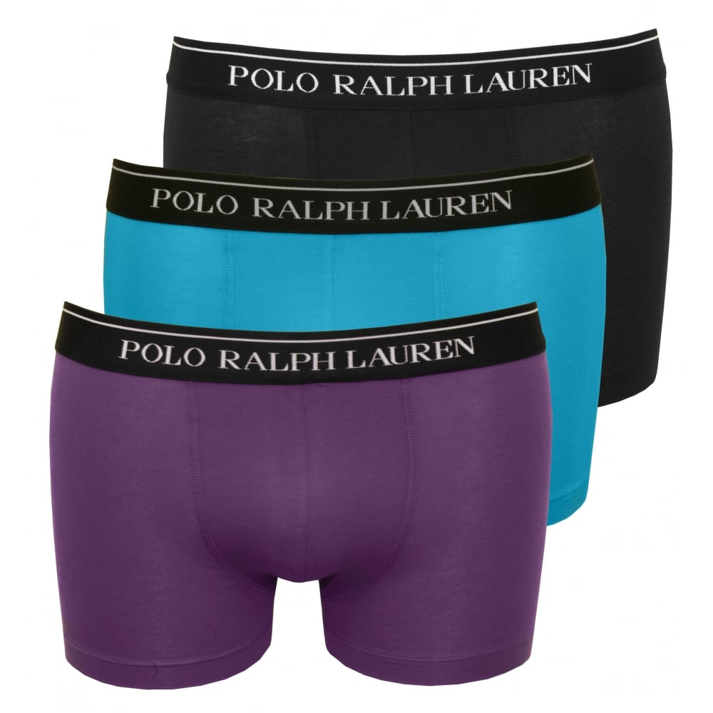 3-Pack Classic Boxer Trunks, Purple/Blue/Black
