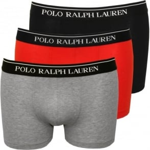 3-Pack Classic Boxer Trunks, Red/Grey/Black