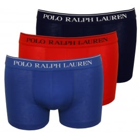 3-Pack Classic Boxer Trunks, Red/Navy/Blue