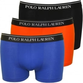 3-Pack Classic Boxer Trunks, Royal Blue/Orange/Black