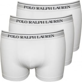 3-Pack Classic Boxer Trunks, White with Navy