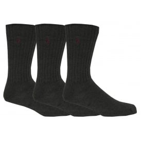 3-Pack Classic Cotton Crew Socks with Pony Player, Charcoal with burgundy