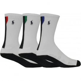 3-Pack Contrast Tip Technical Sports Socks, White