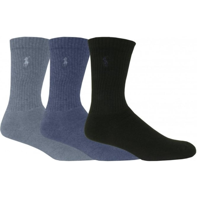Polo Ralph Lauren 3-Pack Crew Pony Player Socks, Assorted Denim Blue