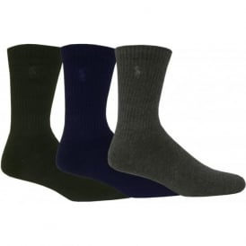 3-Pack Crew Pony Player Socks, Navy/Grey/Black
