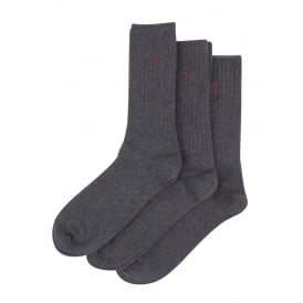 3-Pack Crew Socks with Pony Player, Charcoal Grey