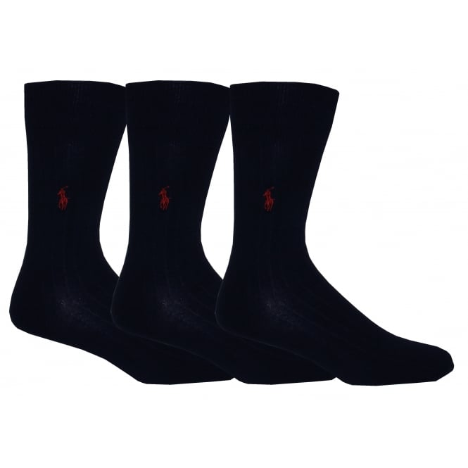 Polo Ralph Lauren 3-Pack Egyptian Cotton Ribbed Socks with Pony Player, Navy with burgundy