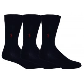 3-Pack Egyptian Cotton Ribbed Socks with Pony Player, Navy with burgundy