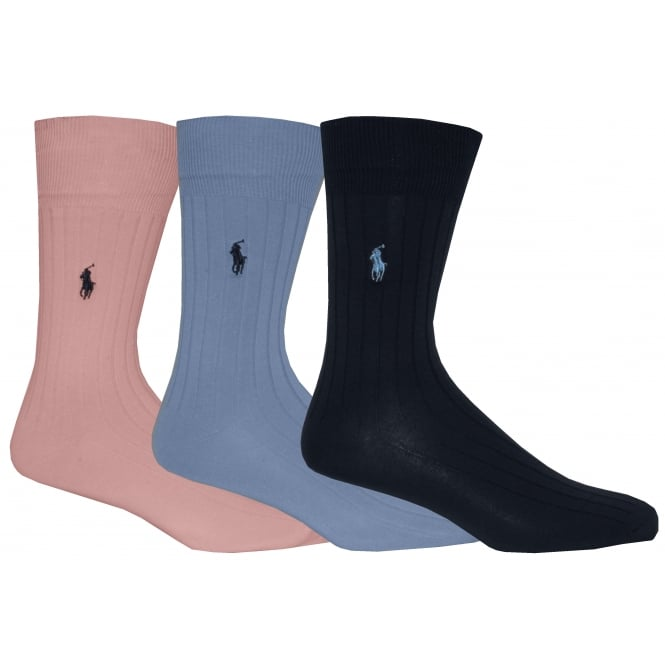 Polo Ralph Lauren 3-Pack Egyptian Cotton Ribbed Socks with Pony Player, Pink/Blue/Navy