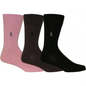 3-Pack Egyptian Cotton Socks, Pink/Grey/Black