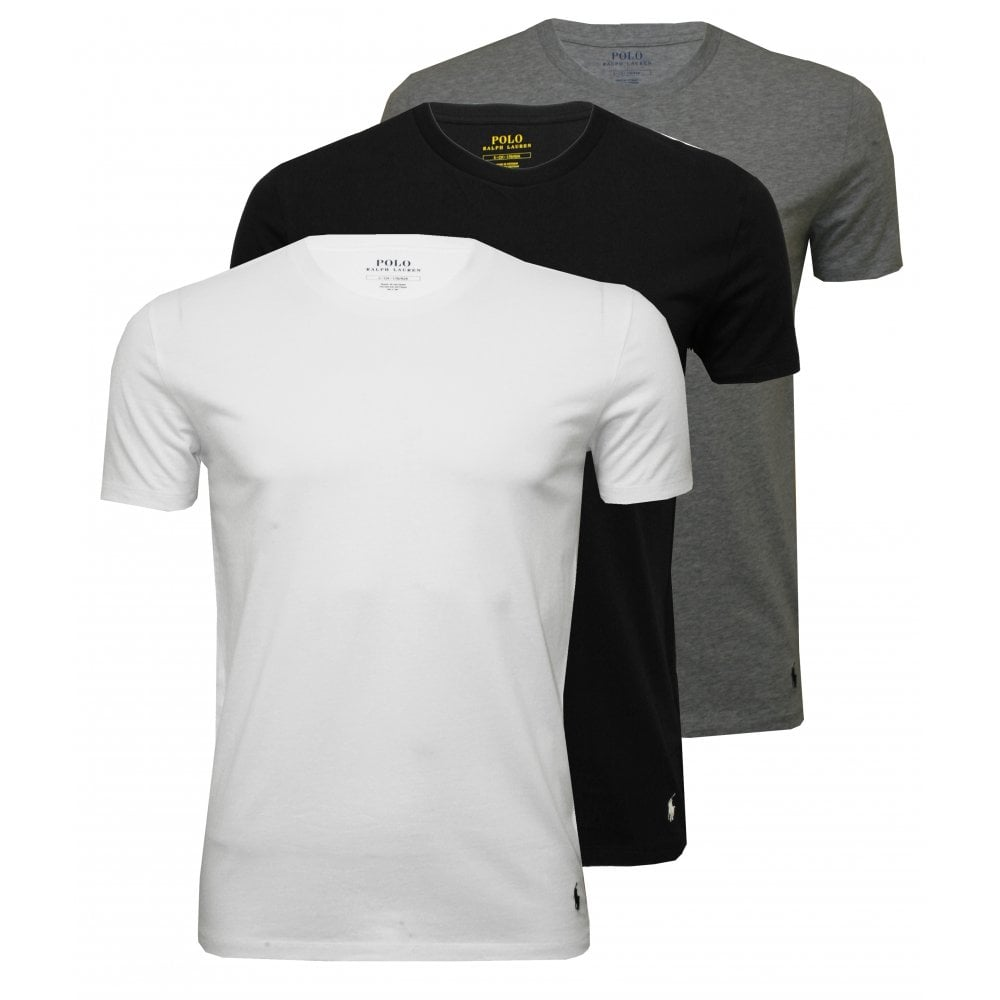 94f39c98ed 3-Pack Polo Player Crew-Neck T-Shirts, Black/White/Grey