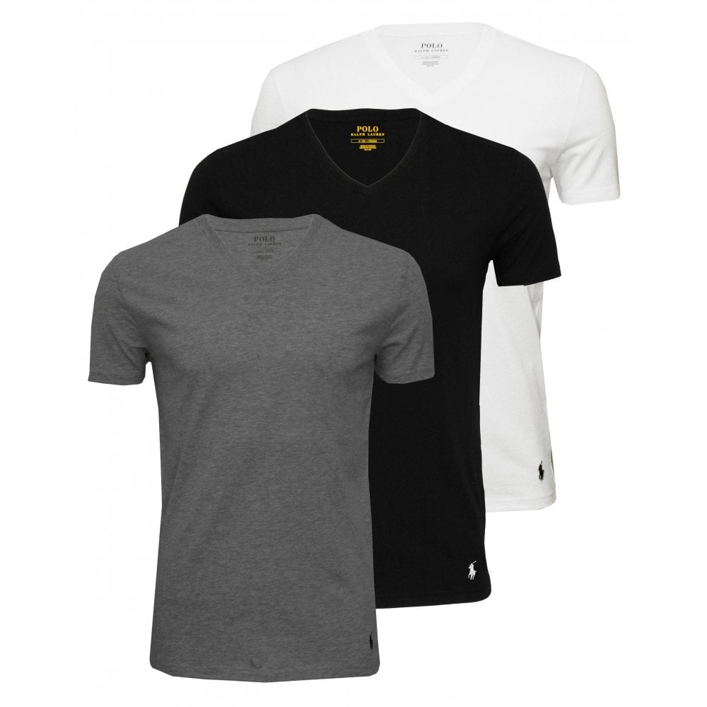 7e5b0d192 Polo Ralph Lauren 3-Pack V-Neck T-Shirts, Black/White/Grey | UnderU