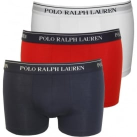 3-Pack Pouch Boxer Trunks, White/Red/Blue