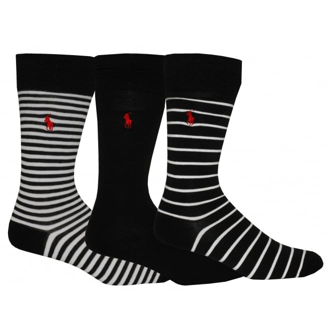 Polo Ralph Lauren 3-Pack Soft Cotton Striped/Solid Socks, Black/white