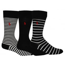 3-Pack Soft Cotton Striped/Solid Socks, Black/white