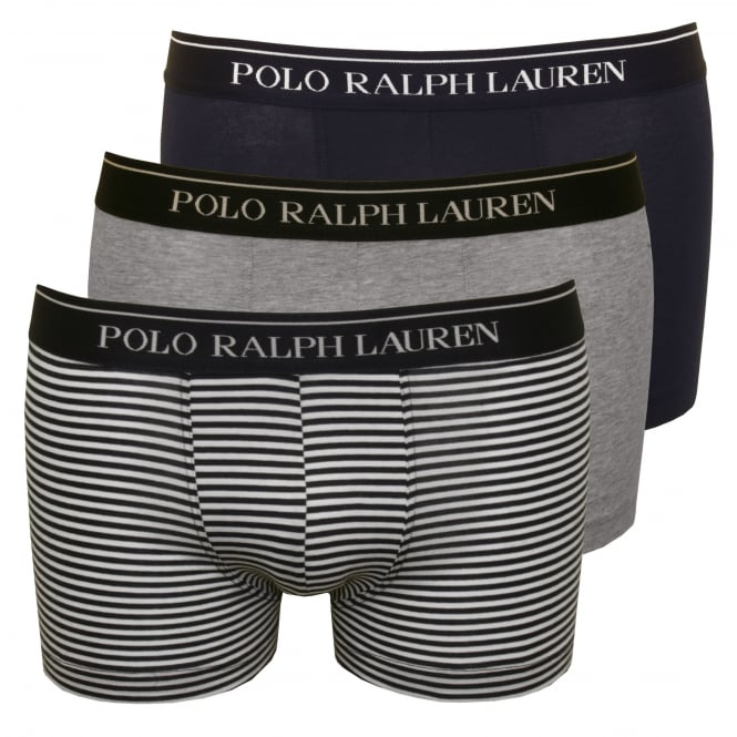 Polo Ralph Lauren 3-Pack Striped/Solid Boxer Trunks, Grey/Navy