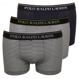 3-Pack Striped/Solid Boxer Trunks, Grey/Navy