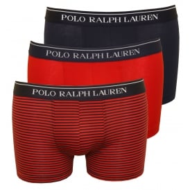 3-Pack Striped/Solid Boxer Trunks, Red/Navy