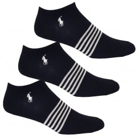 3-Pack Stripes & Polo Player Trainer Socks, Navy