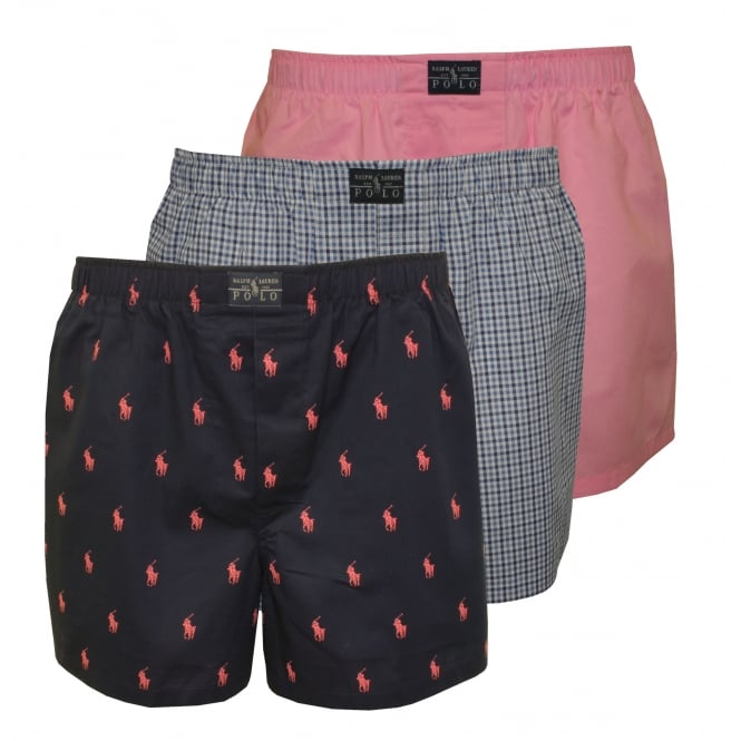 Polo Ralph Lauren 3-Pack Woven All-over Logo/Plaid/Solid Boxer Shorts, Blue/Pink/Navy