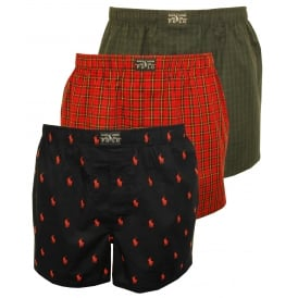 3-Pack Woven Check/Tartan/Logo Boxer Shorts , Black/Red