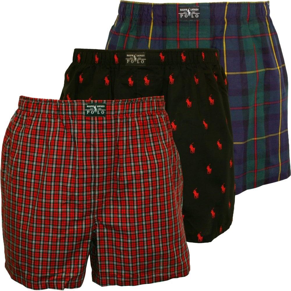 ff682be21 3-Pack Woven Check Tartan Polo Player Boxer Shorts