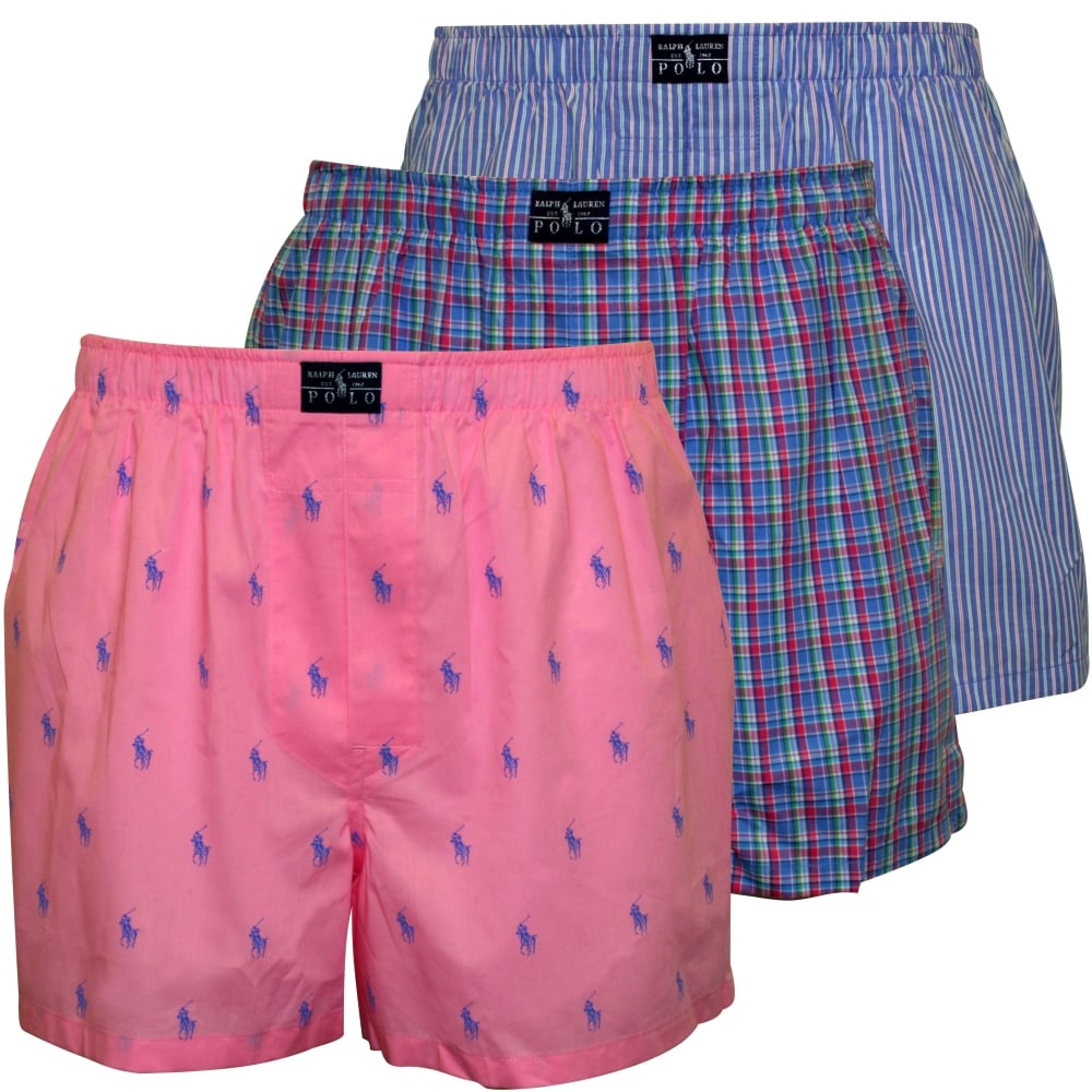 Polo Ralph Lauren 3 Pack Woven Logo Plaid Stripe Boxer Shorts Underu