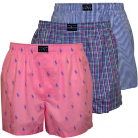 3-Pack Woven Logo/Plaid/Stripe Boxer Shorts, Blue/Pink