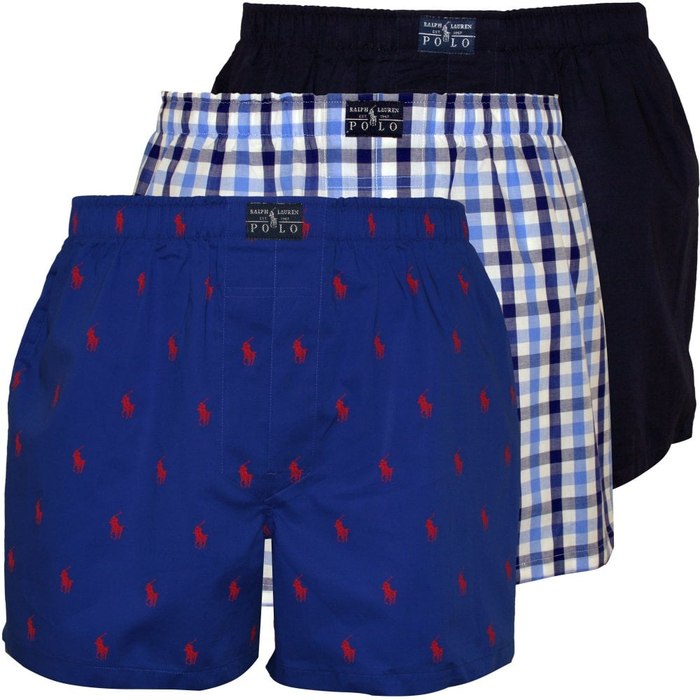 Polo Ralph Lauren 3 Pack Woven Logo Solid Plaid Boxer Shorts Underu