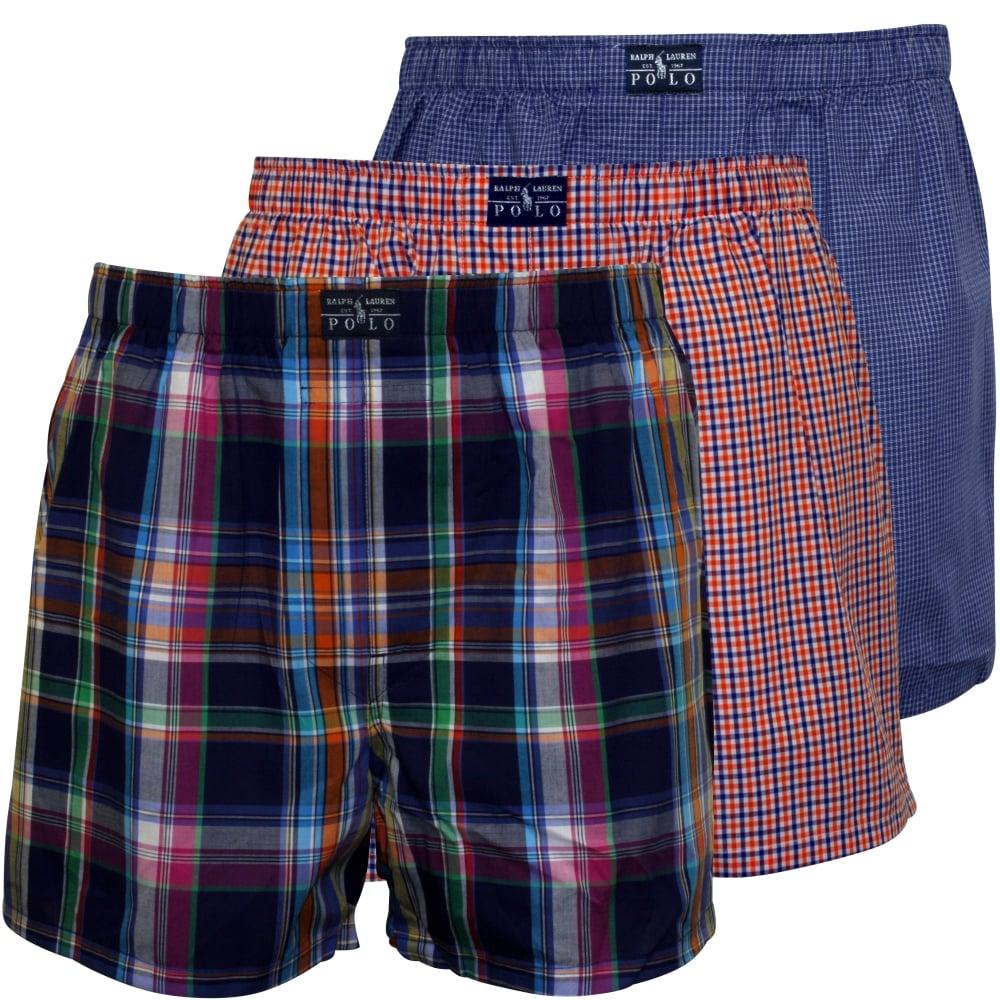 0869360d20b0 Polo Ralph Lauren 3-Pack Woven Plaid Boxer Shorts Blue/Orange | UnderU