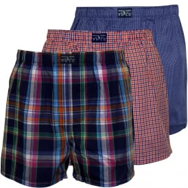 3-Pack Woven Plaid Boxer Shorts, Blue/Orange