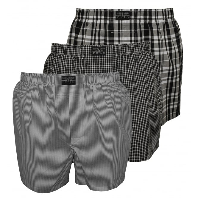 Polo Ralph Lauren 3-Pack Woven Plaid/Stripe/Check Boxer Shorts, Grey/Black