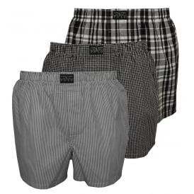 3-Pack Woven Plaid/Stripe/Check Boxer Shorts, Grey/Black