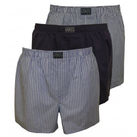 3-Pack Woven Stripe/Plaid/Solid Boxer Shorts, Blue/Navy