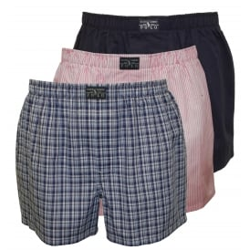 3-Pack Woven Stripe/Plaid/Solid Boxer Shorts, Blue/Pink/Navy
