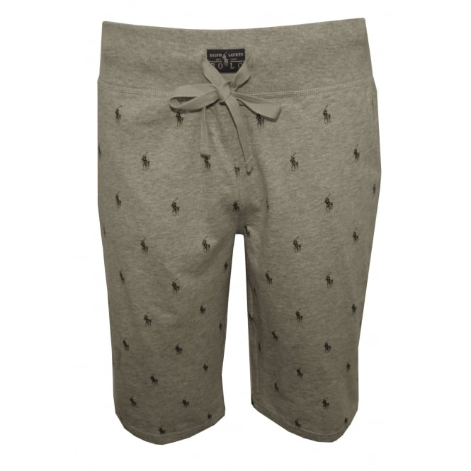 Polo Ralph Lauren All Over Polo Player Jersey Lounge Shorts Grey