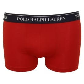 Classic Boxer Trunk, Red with navy
